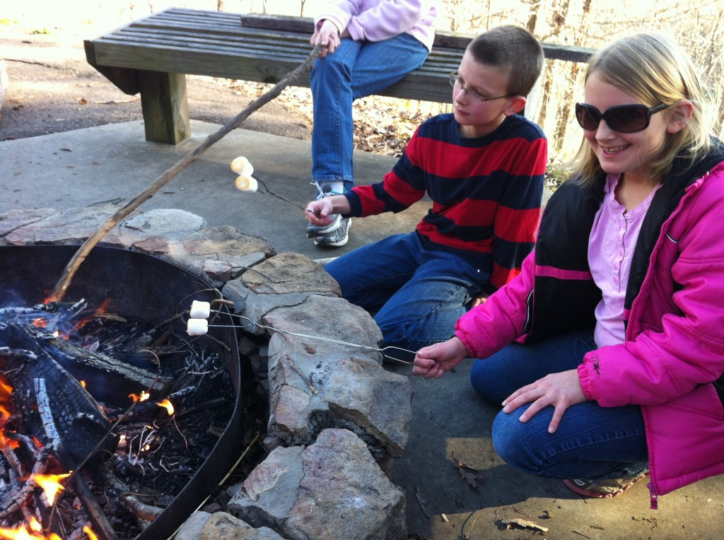 Gav and Keag roasting marshmallows